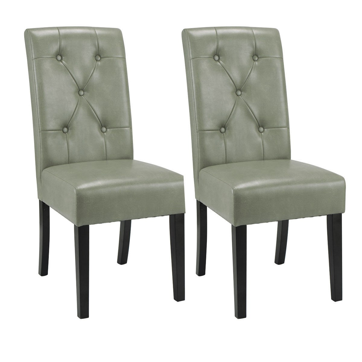 Tufted High Back Chair Costway Set Of 2 Dining Chairs Tufted Pu Leather High Back Armless Accent Home Kitchen