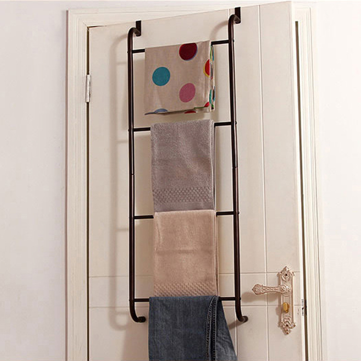 over the door towel rack bathroom or shower door 4 bar hanging holder for towels washcloths or clothes space saving storage accessory new