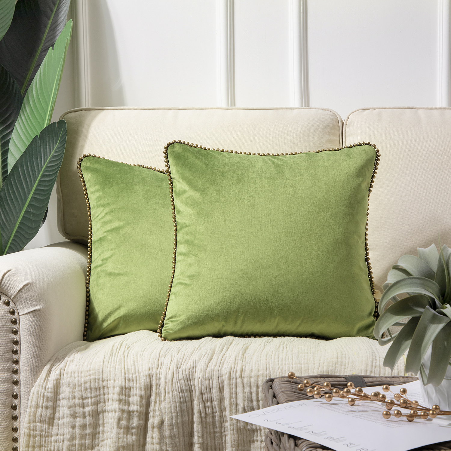 phantoscope particles trimmed soft velvet throw pillow 18 x 18 green with bronze particles 2 pack