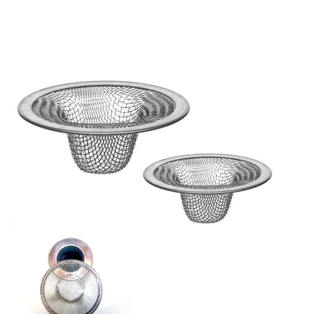 2 pack metal mesh sink strainer drain stopper garbage trap kitchen bathroom tool