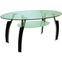 Hodedah Glass Oval-Shaped Coffee Table, Multiple Colors ...