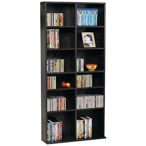 atlantic 25 x54 oskar adjustable wood media storage shelf bookcase 228 dvds 464 cds espresso walmart com