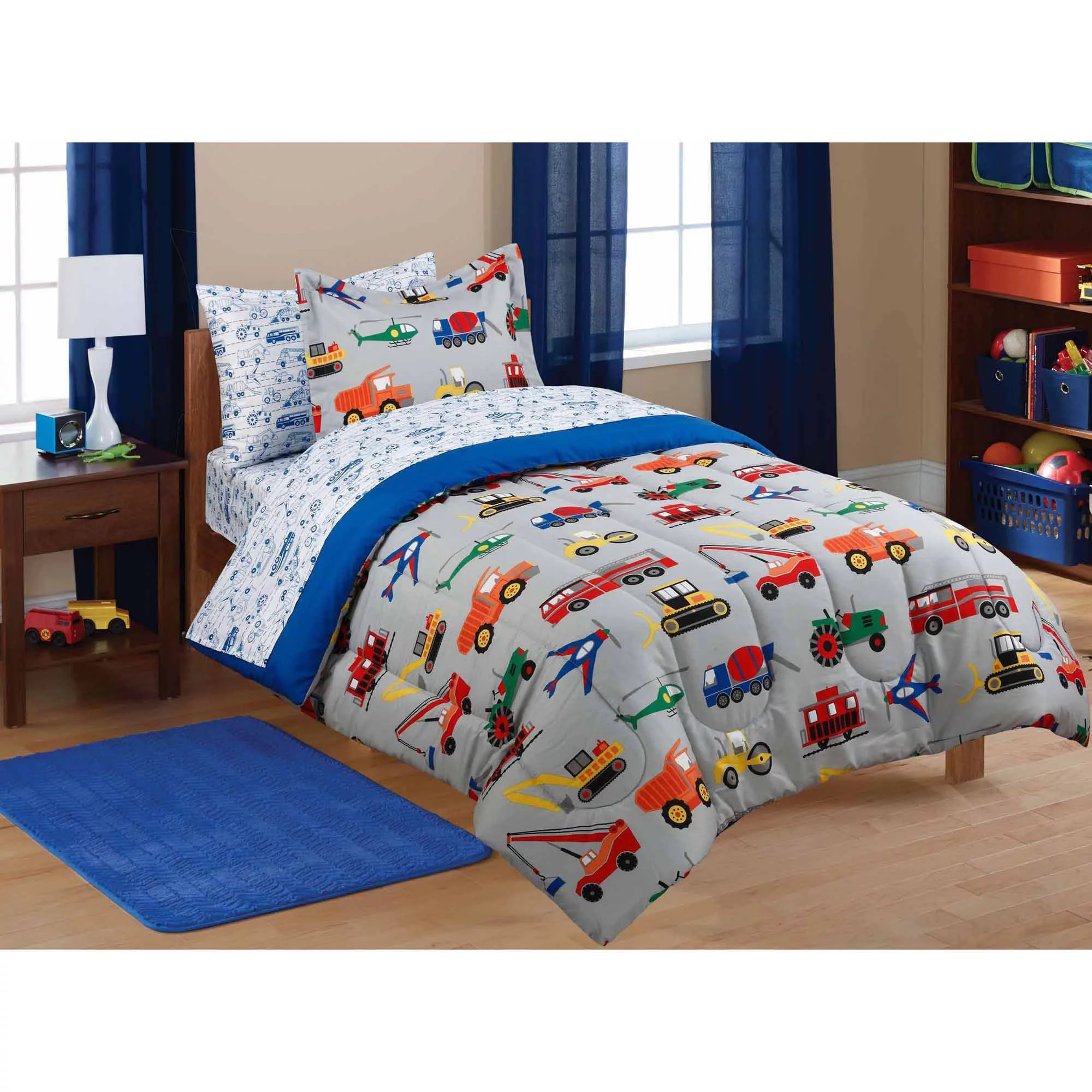 Mainstays Kids Transportation Bed In A Bag Coordinating Bedding Set Walmart Com Walmart Com