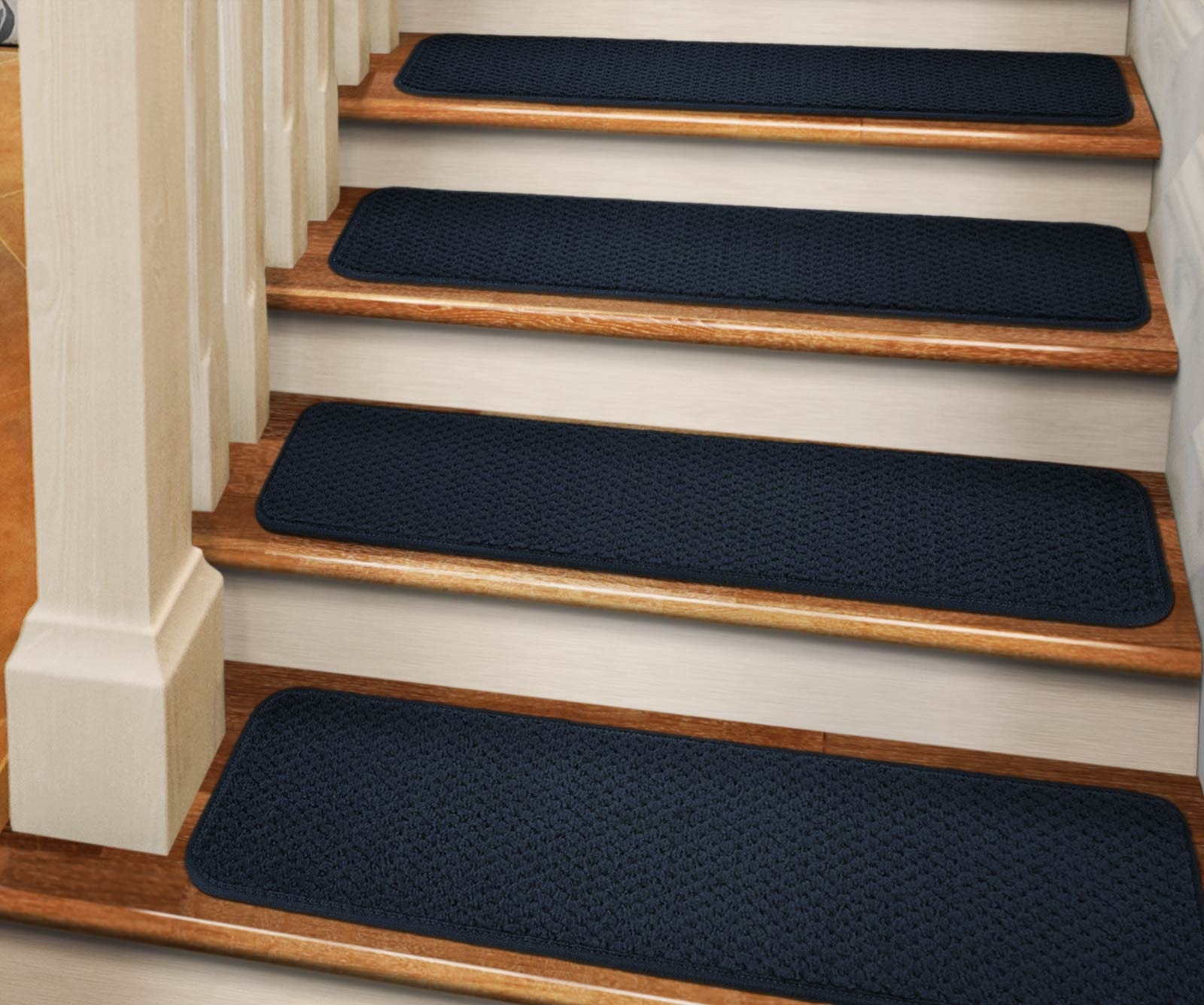 Set Of 12 Adhesive Carpet Stair Treads Navy Blue 8 In X 23 5   Navy Blue Stair Treads   Wayfair   Non Slip   Longshore Tides   Rug Stair   Stair Runners