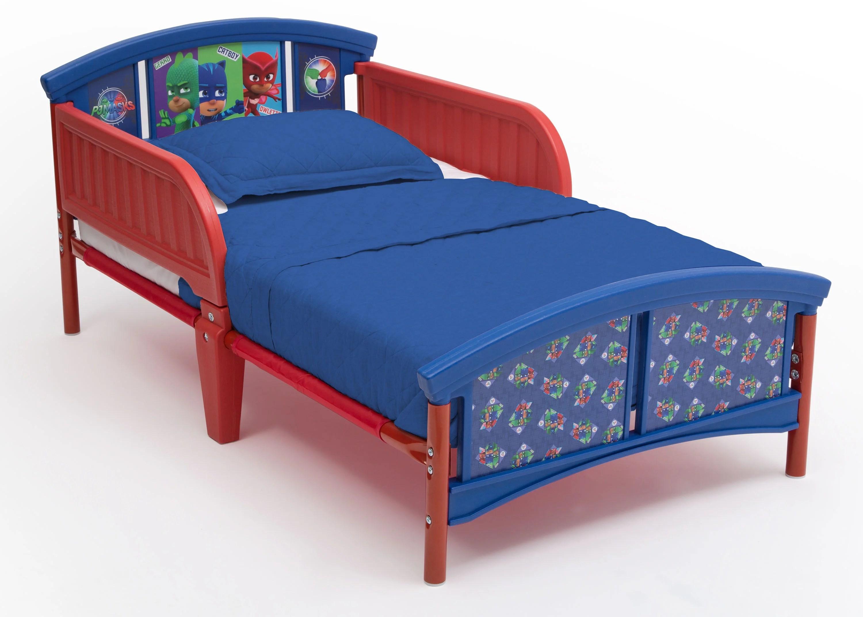 delta children pj masks plastic toddler bed red and blue