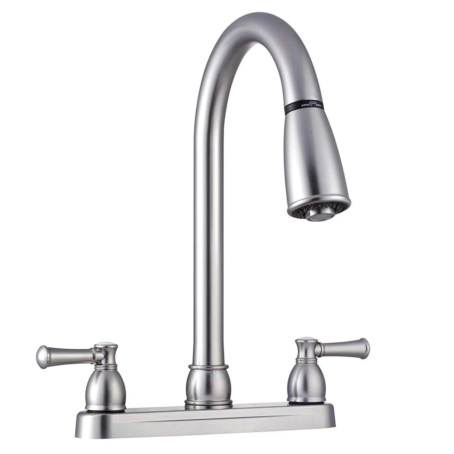 rv kitchen faucets faucet repair dura non metallic dual lever pull down brushed satin