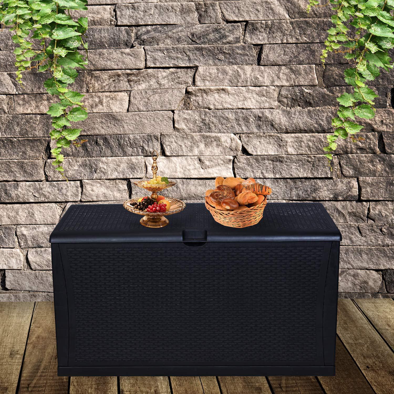 ainfox 120 gallon patio storage deck box outdoor storage plastic bench box 47 2 l x 24 01 resin wicker storage container bench seat black