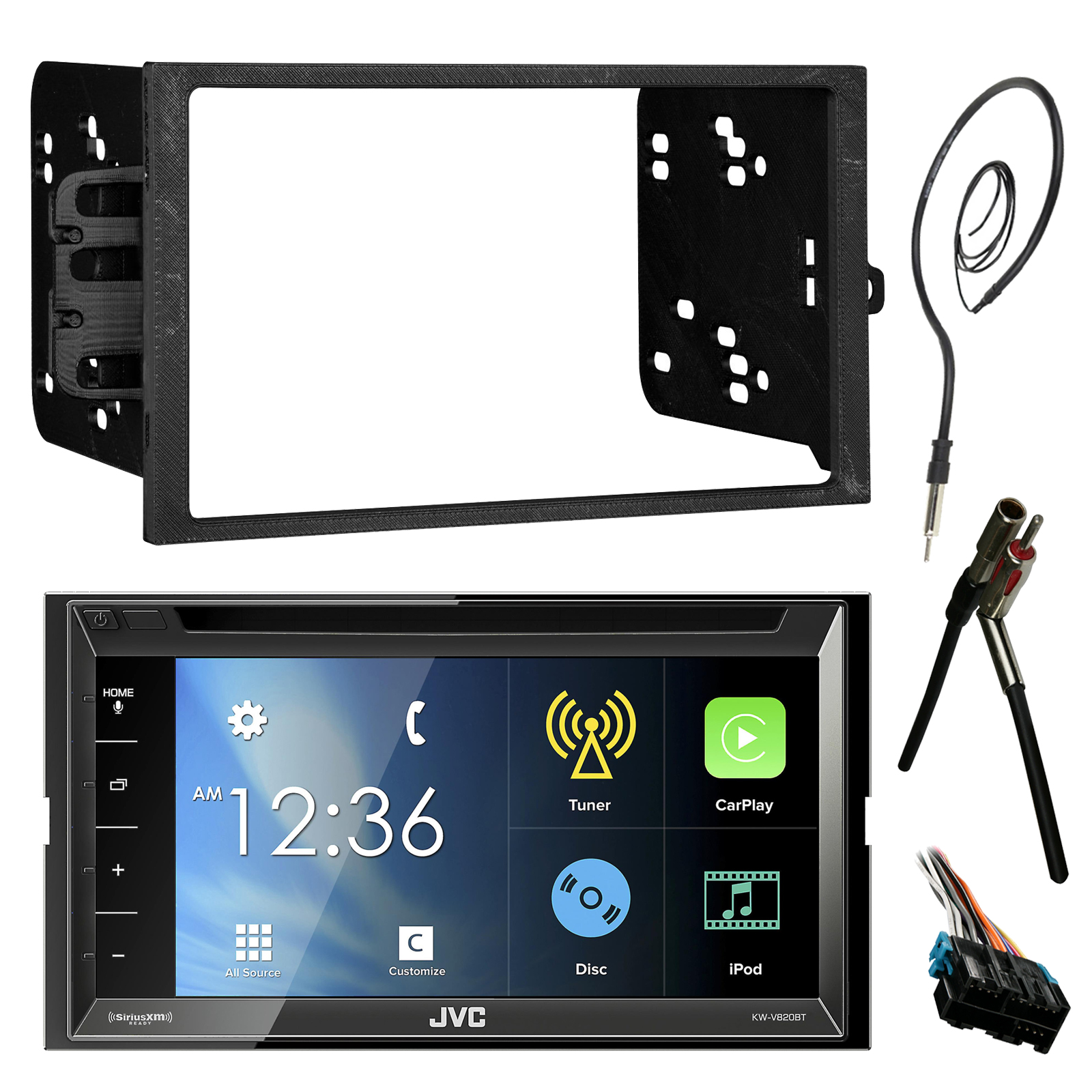 hight resolution of jvc kwv820bt 6 8 touch screen bluetooth cd dvd car stereo receiver bundle combo with metra dash installation trim kit wiring harness for gm vehicles