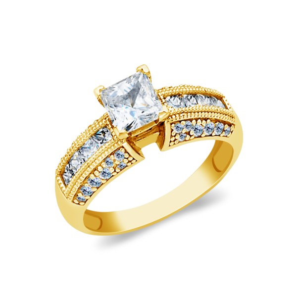 Ioka - 14k Yellow Solid Gold 1 Ct. Princess Cut Cubic Zirconia Cz Wedding Engagement Ring Size
