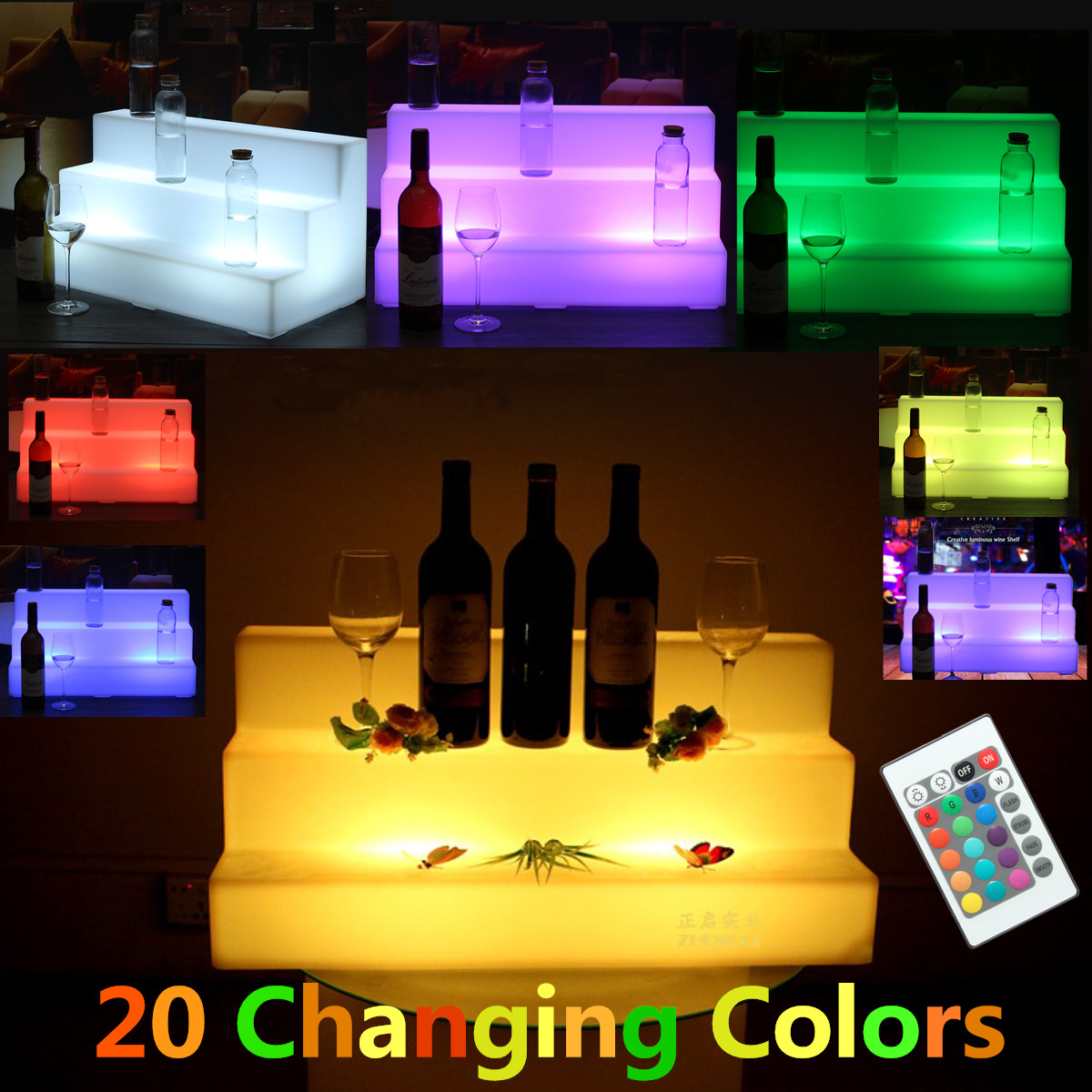 20 Led Lighted Liquor Bottle Shelf Color Changing Back Bar
