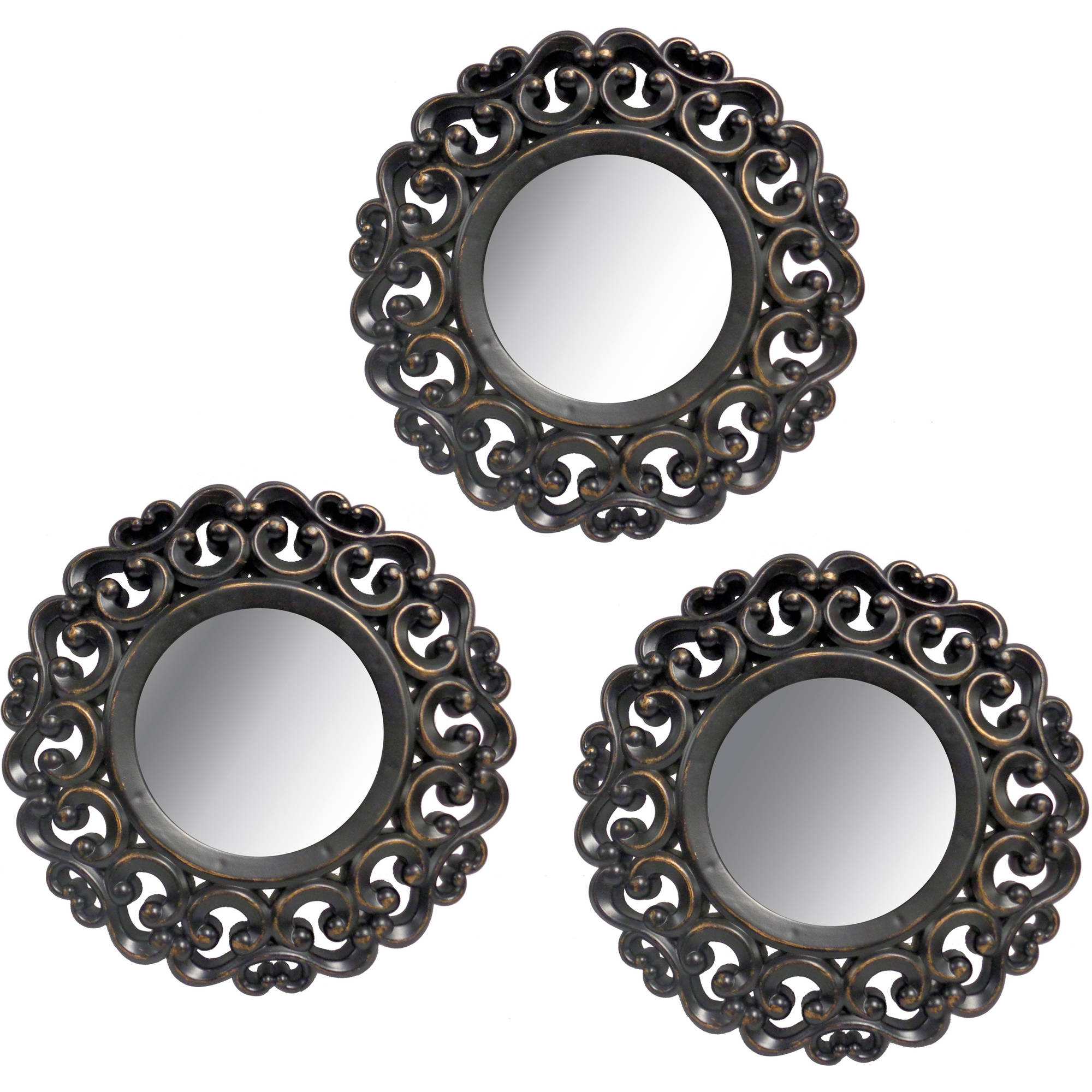 Mainstays 3 Piece Scroll Mirror Set Black Walmart