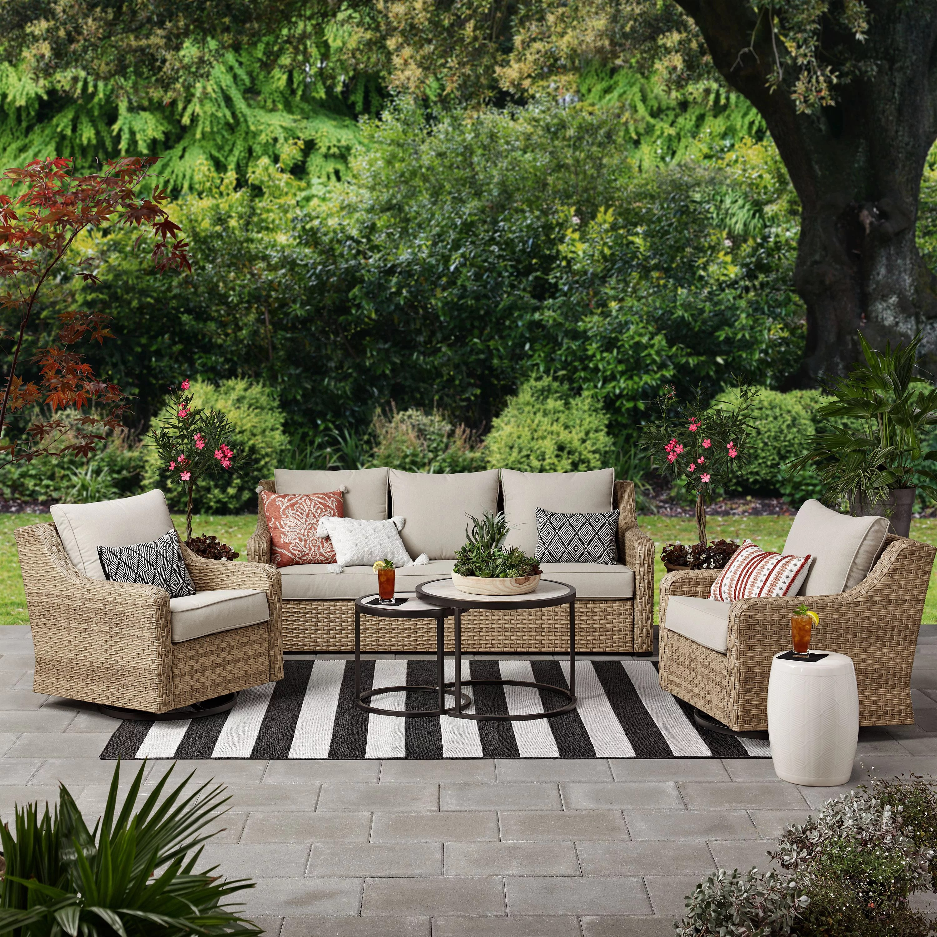 better homes gardens river oaks 5 piece wicker conversation set with patio covers