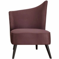 Elegant Accent Chair with Flaired Back, Purple Microfiber ...