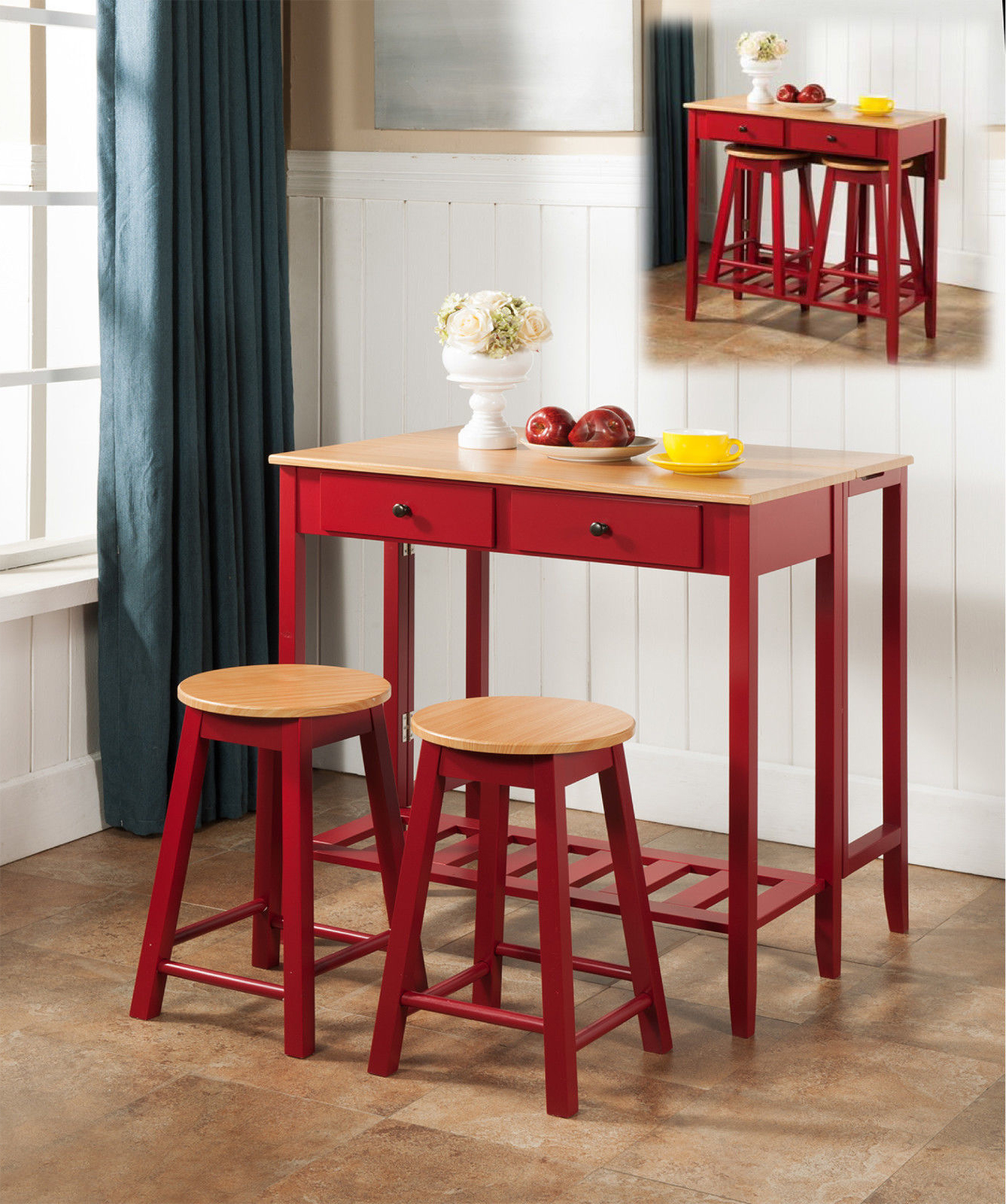 kitchen dinette fauct rave 3 piece red natural top wood contemporary breakfast pub set folding drop down table 2 stools storage drawers walmart com