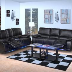Black Reclining Sofa With Console Home Goods Furniture Edison Dual Recliner And Love Seat In Mesa Departments