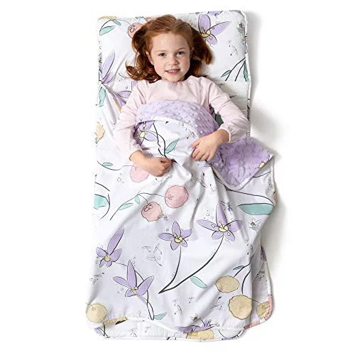 jumpoff jo toddler nap mat children s sleeping bag with removable pillow for preschool daycare sleepovers original design fairy blossoms 43 x 21