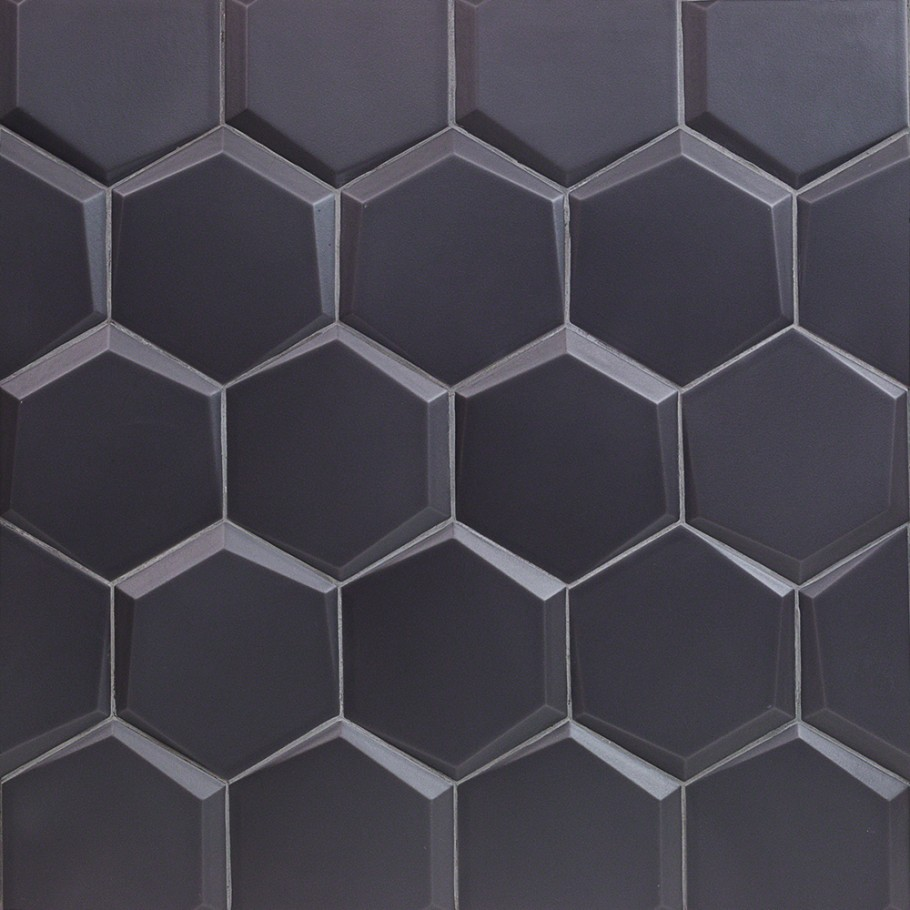 magen leveled hex dark gray matte ceramic hexagon tile