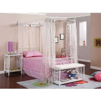 Powell Canopy Wrought Iron Princess Twin Bed, Multiple ...
