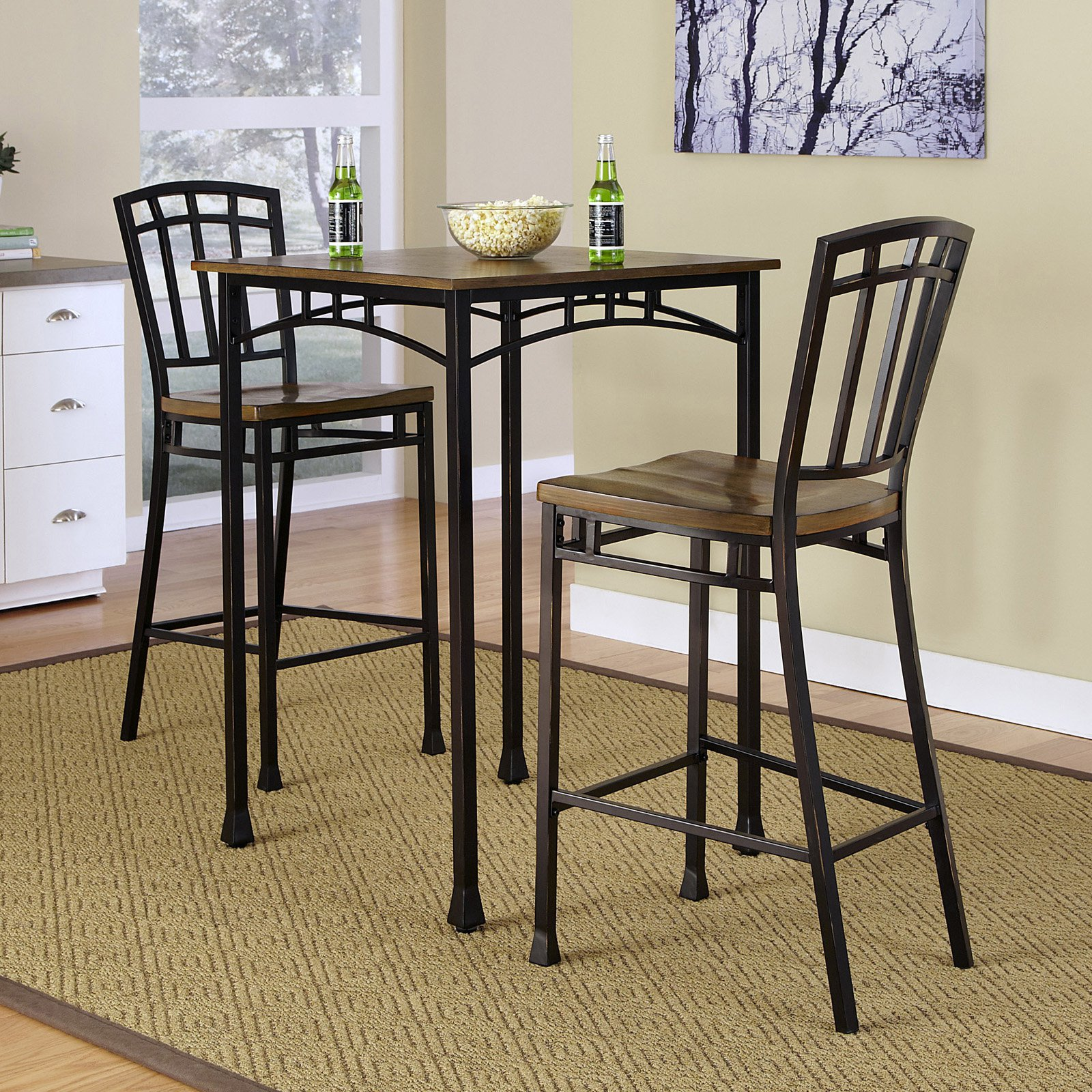 pub table and chairs 3 piece set 2 folding chair walmart modern craftsman 3pc bistro com