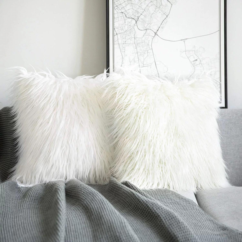 phantoscope merino style faux fur series decorative throw pillow cover 18 x 18 white 2 pack