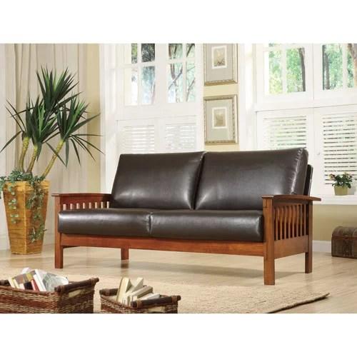 mission oak faux leather