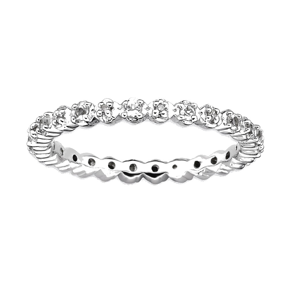 Sterling Silver Stackable Expressions White Topaz
