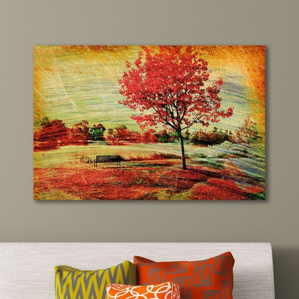Wall26 Canvas Wall Art - Beautiful Autumn View Bench Under Bright Colored Tree