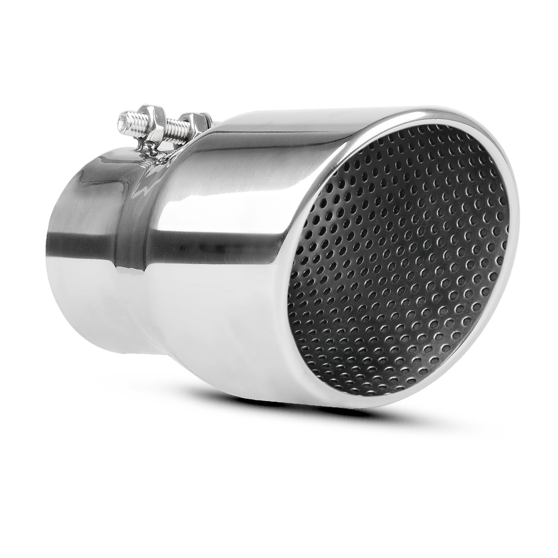 muffler exhaust tip 2 5 inch inlet x 3 5 inch outlet x 6 inch long chrome polished angle cut stainless steel tailpipe walmart com