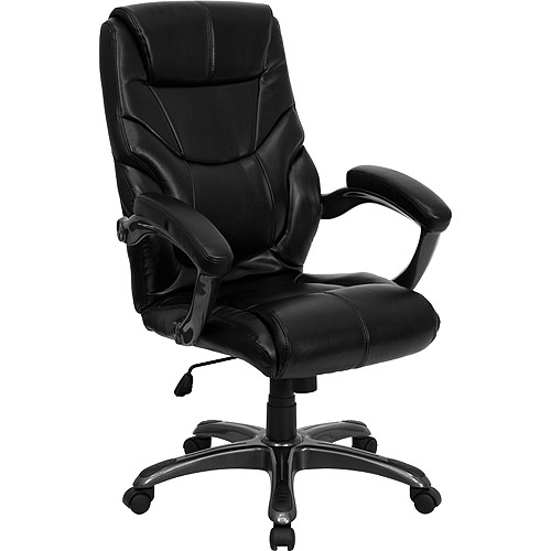 walmart leather office chair Contemporary Leather High-Back Office Chair, Black
