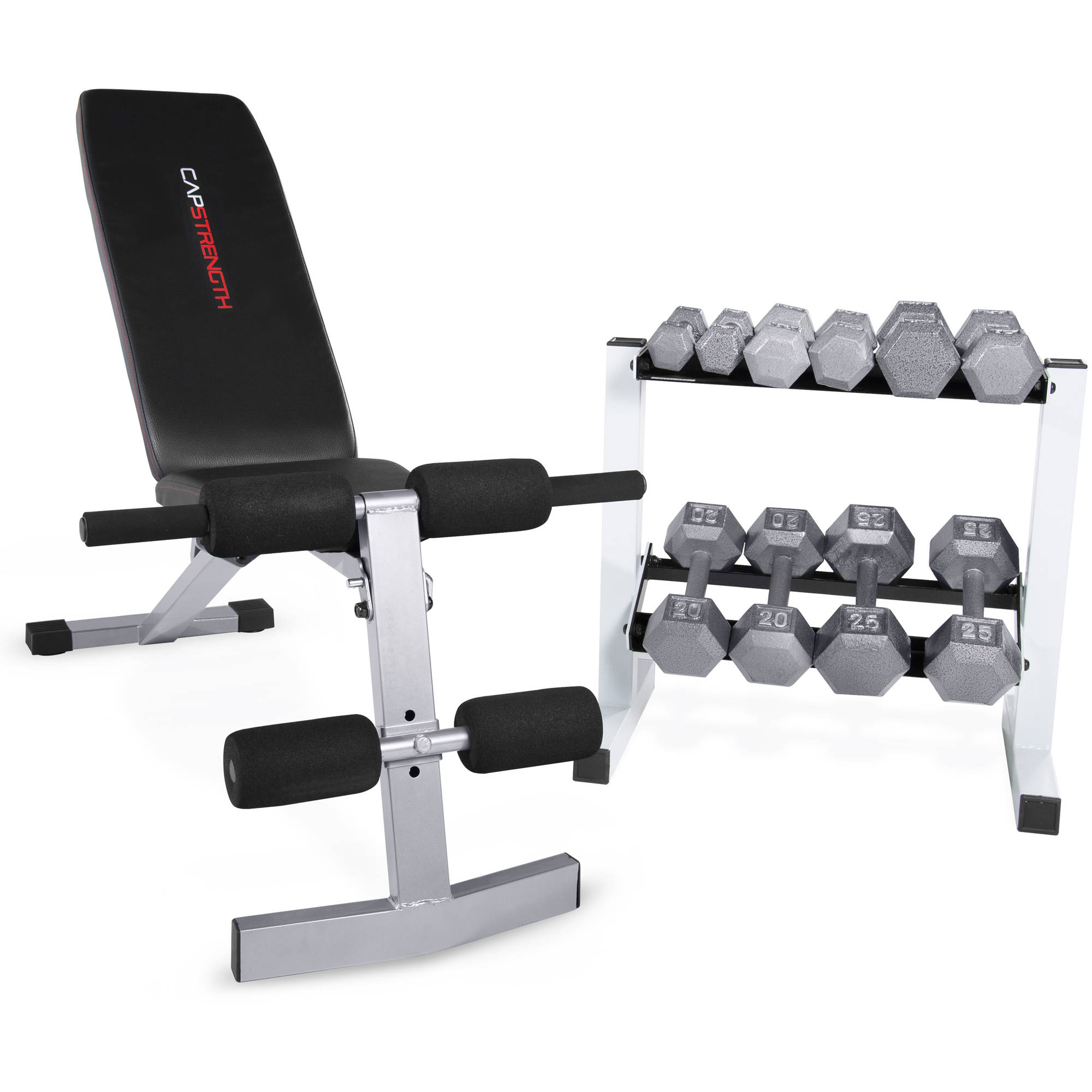 Cap Strength Fid Bench With 150 Lb Dumbbell Set Walmart Com
