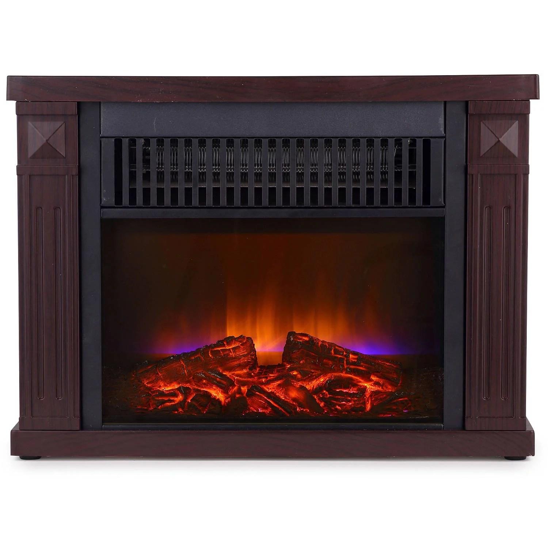 Global Air Mini Room Infrared Quartz Fireplace in Dark walnutCherry Red
