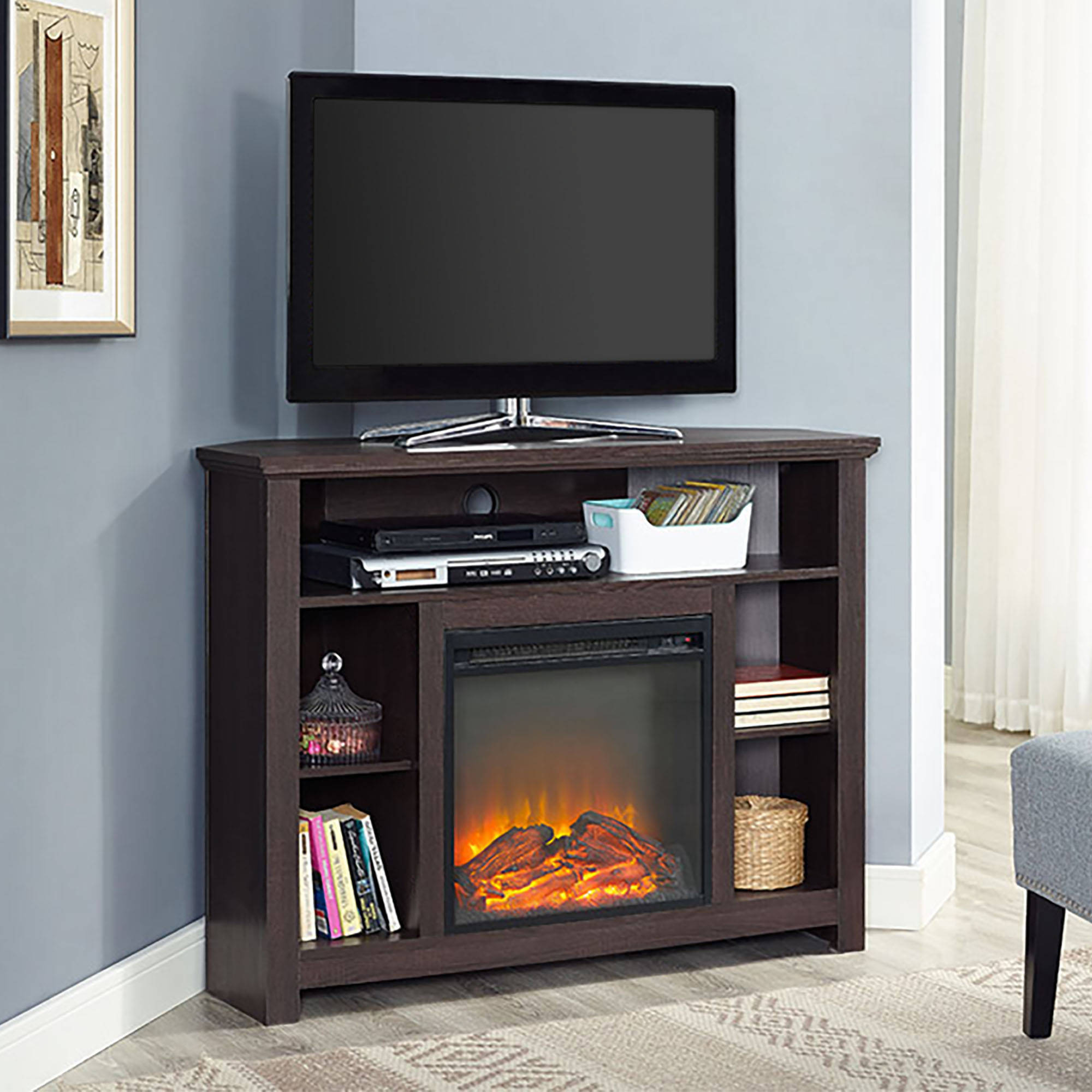 44 Wood Corner Tall Fireplace TV Stand For TVs Up To 60