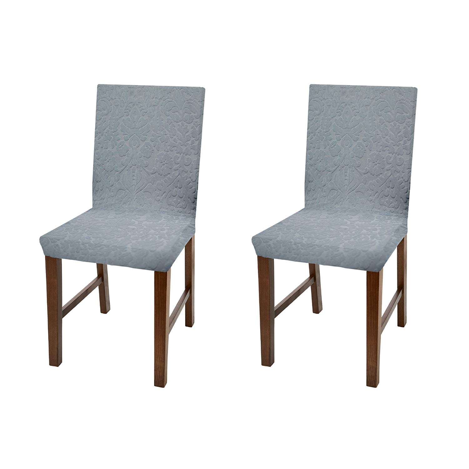 dining chair covers in store rainforest spacesaver high linen luxurious damask cover form fitting soft parson slipcover grey set of 2 walmart com