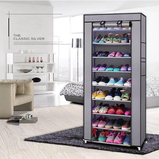 shoebox shoe rack free standing 9 tier black foldable metal shoe tower 50 pair nonwoven fabric cover shoe storage organizer unit entryway shelf