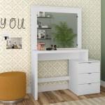 Boahaus Eleanor Modern Vanity Table With Mirror And 3 Drawers White Finish Walmart Com Walmart Com