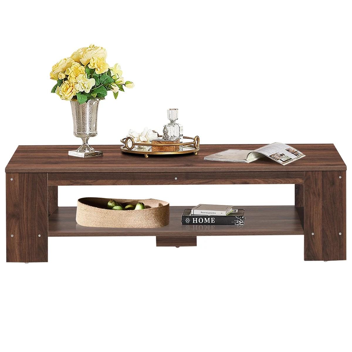 topbuy rustic wood coffee table rectangular coffee table with storage shelf walmart com