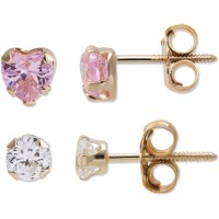 Girl's 14kt Gold CZ Stud Earrings Set - Walmart.com