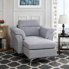 Chaise In Living Room Pictures Of Blue And Brown Rooms Lounges Walmart Com Product Image Modern Linen Fabric Lounge With Arm Rests Light Grey