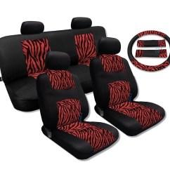 unique imports red zebra accent fur black cool breeze seat cover set fits saab sedans walmart com [ 1500 x 1500 Pixel ]