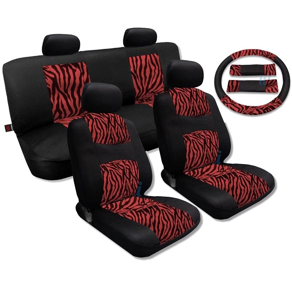 medium resolution of unique imports red zebra accent fur black cool breeze seat cover set fits saab sedans walmart com