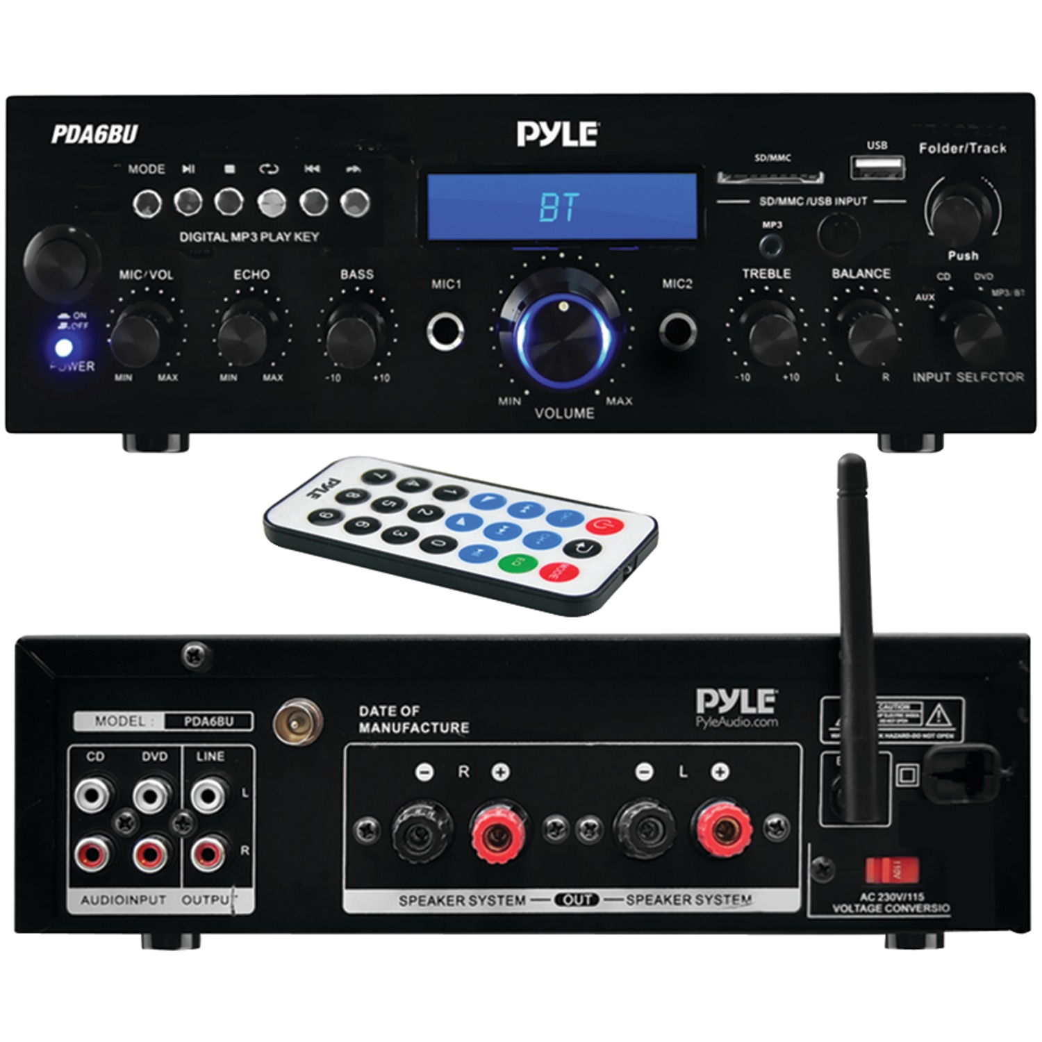 Pyle Home 200 Watt Bluetooth Stereo Amp Receiver With Usb