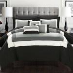 Chic Home 10 Piece Luxury Color Block Comforter Bedding Set With Sheet Set Queen Black Walmart Com Walmart Com