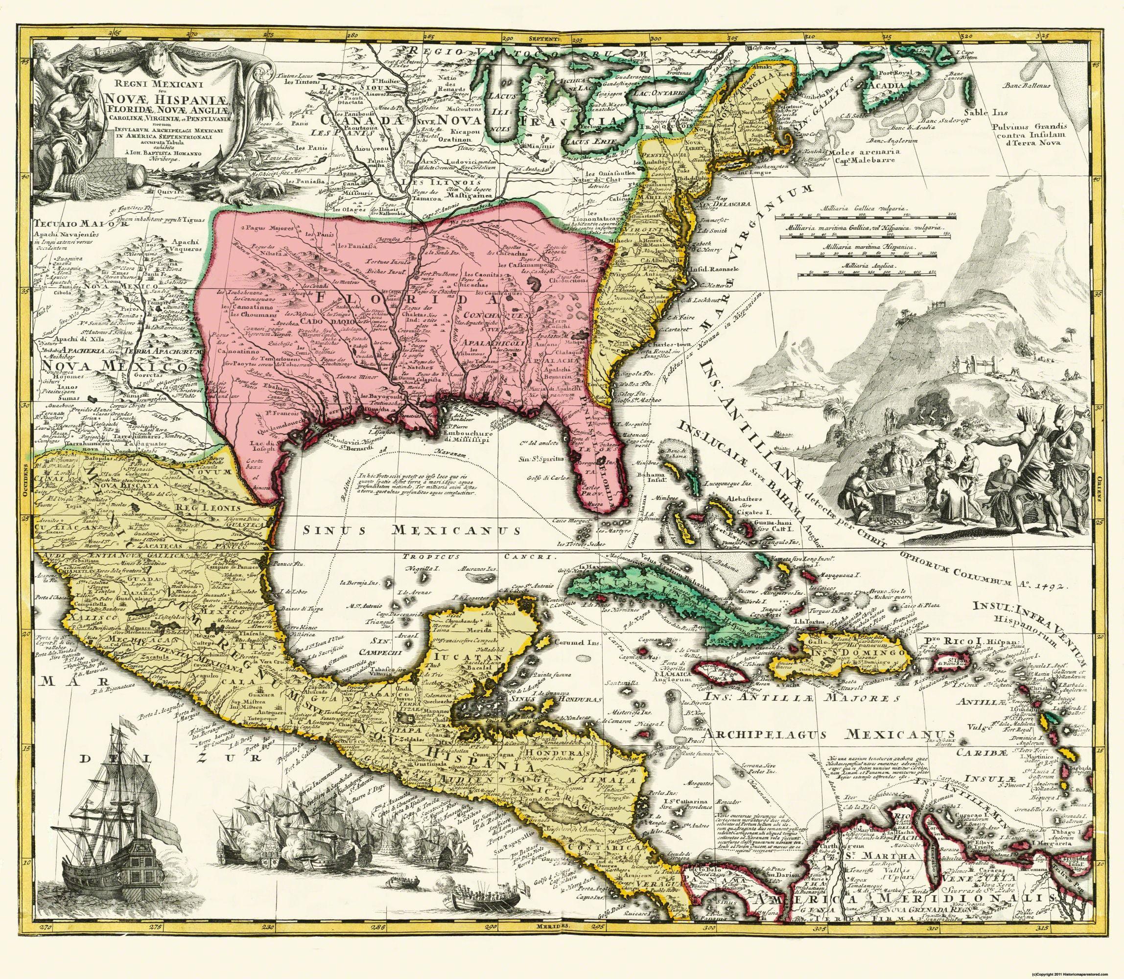 Central America New Spain - Homann 1732 - 26.38 x 23 - Walmart.com