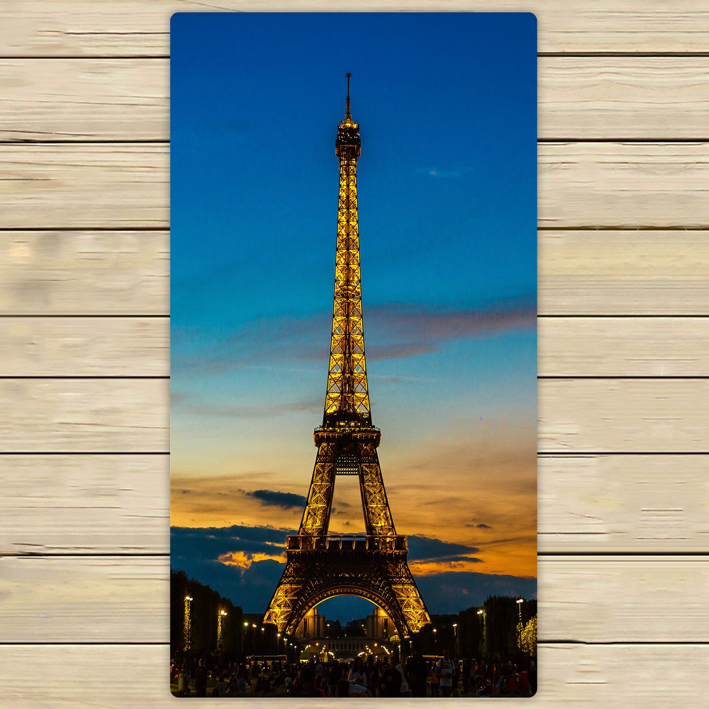PHFZK City Towel Paris France Eiffel Tower at Sunset Hand