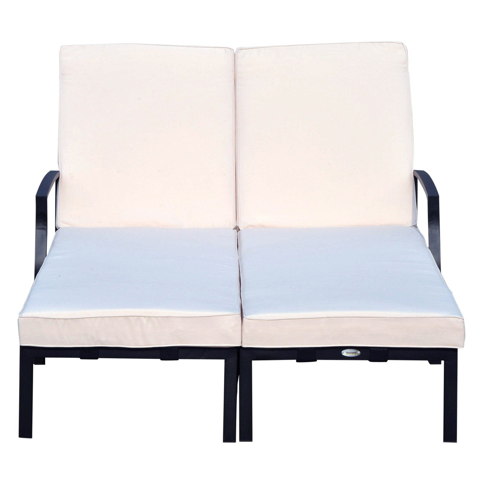 double lounge chair outdoor dining table cushion covers outsunny 74 in reclining walmart com