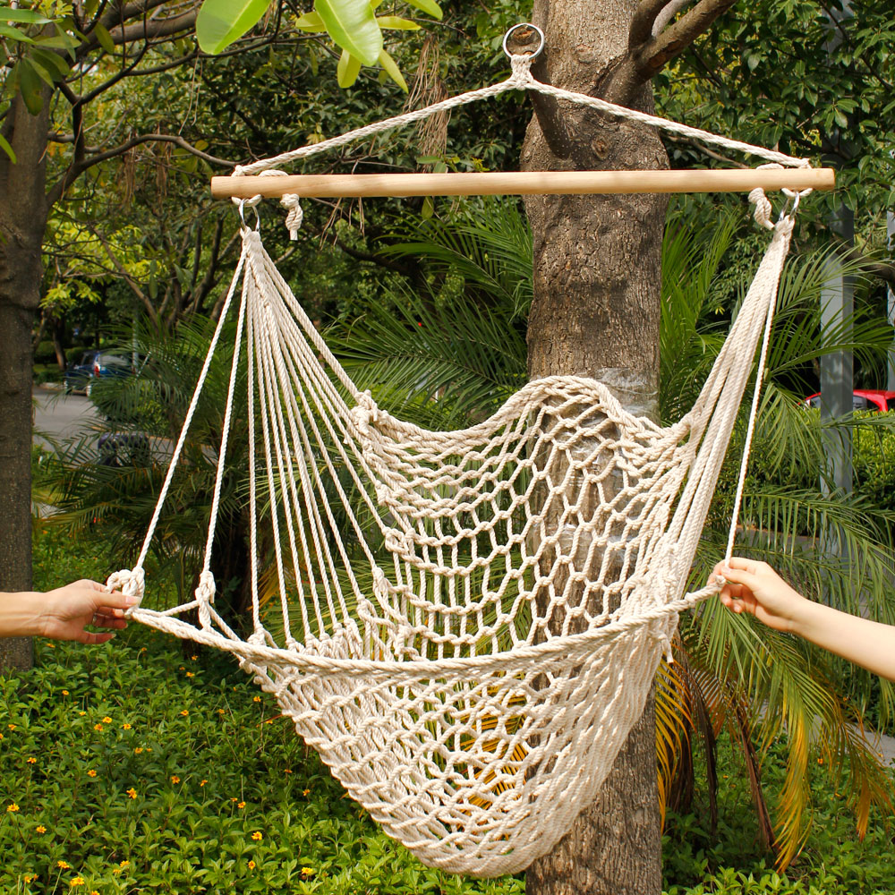hanging chair rope sheepskin covers for recliners uk ktaxon hammock swing seat cushions porch outdoor indoor patio yard