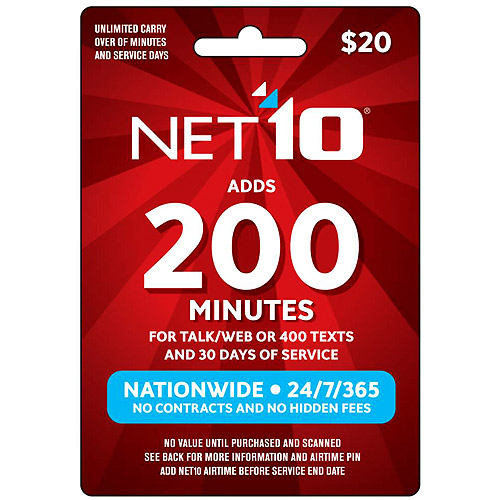 (Email Delivery) NET10 $20 Prepaid Card. 200 min for Talk/Web or 400 texts and 30 days of service - Walmart.com