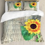 Sunflower Duvet Cover Set Sunflower On Wooden Old Board Bouquet Floral Mother Earth Artsy Photo Decorative Bedding Set With Pillow Shams Brown Green Yellow By Ambesonne Walmart Com Walmart Com