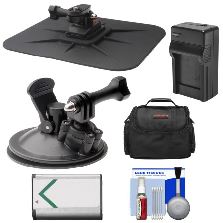 Essentials Bundle for Sony Action Cam HDR-AS50, AS200, AS300, FDR-X1000V & X3000 Camcorder with Car Suction Windshield & Dashboard Mounts + Battery + Charger + Case + Accessory Kit