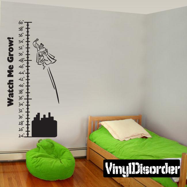 Growth chart super hero superhero buildings watch me grow text child teen vinyl wall decal also rh walmart